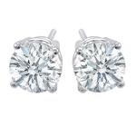 Premium Quality Classic Four-Prong Earring, (2 1/2ct. tw.), 18k w/g