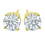 Premium Quality Classic Four-Prong Earring, (2 1/2ct. tw.), 18k y/g