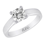 (Semi-Mount) Four Prong Cathedral Solitaire for Round Diamond in 14k White Gold