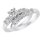 (Set) AW Bridal Bar Set Four Round Diamond Ring and Band in White Gold, (1/3 ctw.)