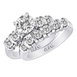 (Set) AW Bridal Bar Set Four Round Diamond Ring and Band in White Gold, (5/8 ctw.)