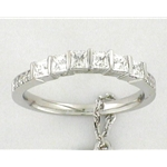 (Matching Band) Bar Set Princess with Pave Diamond Wedding Band in 14k White Gold, (1/2 ctw.)