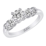 (Semi-Mount) Bar Set Four Round Diamond Eng. Ring in 14k White Gold, (1/3 ctw.)