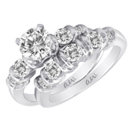 (Set) AW Bridal Bar Set Four Round Diamond Ring and Band in White Gold, (3/8 ctw.)