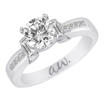 (Semi-Mount) Bar Set Baguette and Channel Princess Diamond Eng. Ring in 14k White Gold, (1/2 ctw.)