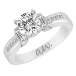 (Semi-Mount) Bar Set Baguette and Channel Princess Diamond Eng. Ring in 14k White Gold, (3/4 ctw.)
