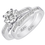 (Set) AW Bridal Bar Set Baguette and Channel Princess Diamond Ring and Band in White Gold, (1/2 ctw.)