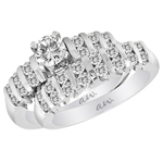(Set) AW Bridal Bar Set Double Row Round Diamond Ring and Band in White Gold, (1/3 ctw.)