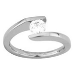 (Semi-Mount) Freeform Solitaire Eng. Ring for a Round Center  in 14k White Gold