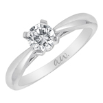 (Semi-Mount) Knife Edge Cathedral Solitaire Eng. Ring in 14k White Gold
