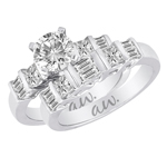 (Set) AW Bridal Bar Set Princess and Baguette Diamond Ring and Band in White Gold, (1/2 ctw.)