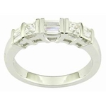 (Matching Band) Bar Set Princess and Baguette Diamond Wedding Band in 14k White Gold, (3/4 ctw.)