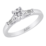 (Semi-Mount) Bar Set Baguette Diamond Eng. Ring in 14k White Gold, (1/3 ctw.)