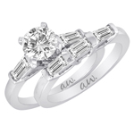 (Set) AW Bridal Bar Set Baguette Diamond Ring and Band in White Gold, (1/3 ctw.)