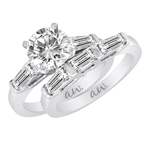 (Set) AW Bridal Bar Set Baguette Diamond Ring and Band in White Gold, (5/8 ctw.)
