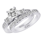 (Set) AW Bridal Bar Set Baguette with Pave Round Diamond Ring and Band in White Gold, (3/8 ctw.)