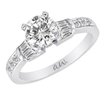 (Semi-Mount) Bar Set Baguette with Pave Round Diamond Wedding Band in 14k White Gold, (3/8 ctw.)