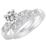 (Set) AW Bridal Bar Set Princess Diamond Ring and Band in White Gold, (5/8 ctw.)
