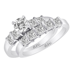 (Set) AW Bridal Bar Set Princess Diamond Ring and Band in White Gold, (1/2 ctw.)