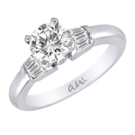 (Semi-Mount) Bar Set Baguette Diamond Eng. Ring in 14k White Gold, (1/4 ctw.)