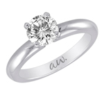 (Semi-Mount) Knife Edge Solitaire Diamond Eng. Ring in 14k White Gold