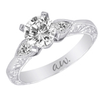 (Semi-Mount) Bezel Set Pear Shaped Diamond Eng. Ring with Engraving  in 14k White Gold, (1/5 ctw.)