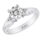 (Semi-Mount) Bezel Set Trillion Diamond Eng. Ring with Engraving  in 14k White Gold, (1/5 ctw.)