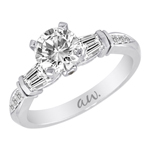 (Semi-Mount) Bar Set Baguette with Round Pave Set Diamond Eng. Ring in 14k White Gold, (3/8 ctw.)