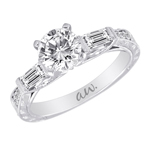 (Semi-Mount) Engraved Baguette and Pave Diamond Eng. Ring with Stylized Gallery  in 14k White Gold, (1/2 ctw.)