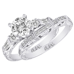 (Semi-Mount) Engraved Baguette and Round Diamond Eng. Ring in 14k White Gold, (1/2 ctw.)