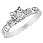 (Semi-Mount) Engraved Princess Cut and Pave Diamond Eng. Ring in 14k White Gold, (1/3 ctw.)
