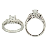 (Semi-Mount) Engraved Bar Set Princess Cut and Pave Diamond Eng. Ring in 14k White Gold, (1/3 ctw.)