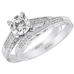 (Semi-Mount) Engraved Pave Diamond Cathedral Eng. Ring in 14k White Gold, (1/6 ctw.)