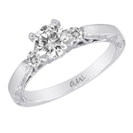 (Semi-Mount) Engraved Filligree Two Diamond Eng. Ring in 14k White Gold, (1/8 ctw.)