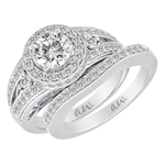 (Semi-Mount) Double Millgrain Pave Halo Style Eng. Ring in 14k White Gold, (3/4 ctw.)