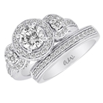 (Semi-Mount) Double Millgrain Pave Diamond Three Halo Style Eng. Ring in 14k White Gold, (3/4 ctw.)