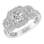 (Semi-Mount) Double Millgrain Pave Three Princess Diamond Halo Style Eng. Ring in 14k White Gold, (5/8 ctw.)
