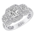 (Semi-Mount) Double Millgrain Pave Three Princess Diamond Halo Style Eng. Ring in 14k White Gold, (1 ctw.)