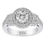 (Semi-Mount) Double Millgrain Baguette and Pave Diamond Halo Style Eng. Ring in 14k White Gold, (3/4 ctw.)