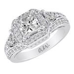 (Semi-Mount) Double Millgrain Princess Diamond With Triangle Sides Eng. Ring in 14k White Gold, (1 ctw.)