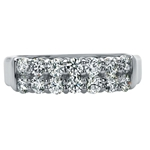 SOLENZA Sparkler Double Row Diamond Band  in 18k White Gold, (1ct. tw.)