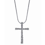 SOLENZA Divine Tapered Cross Diamond Pendant  in 18k White Gold, (1ct. tw.)