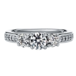 SOLENZA Blossom Three Stone Diamond Ring 1/2ct Center in 18k White Gold, (5/8ct. tw.)