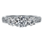 SOLENZA Blossom Three Stone Diamond Ring 3/4ct Center in 18k White Gold, (7/8ct. tw.)