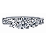 SOLENZA Blossom Three Stone Diamond Ring 1ct Center in 18k White Gold, (7/8ct. tw.)